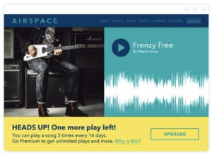 """A screenshot that depicts a metered content wall that reads, """"Heads Up! One more play left! You can play a song 3 times every 14 days. Go Premium to get unlimited plays and more."""""""